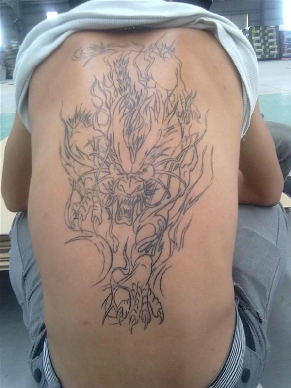 小烈火麒麟纹身手稿分享展示图片