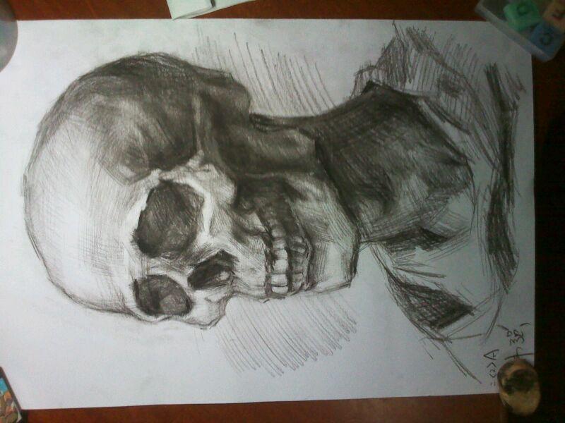 高清骷髅头正面素描相关图片下载