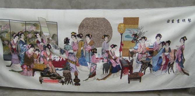 本人有一副《琴棋书画》十字绣成品出售图片