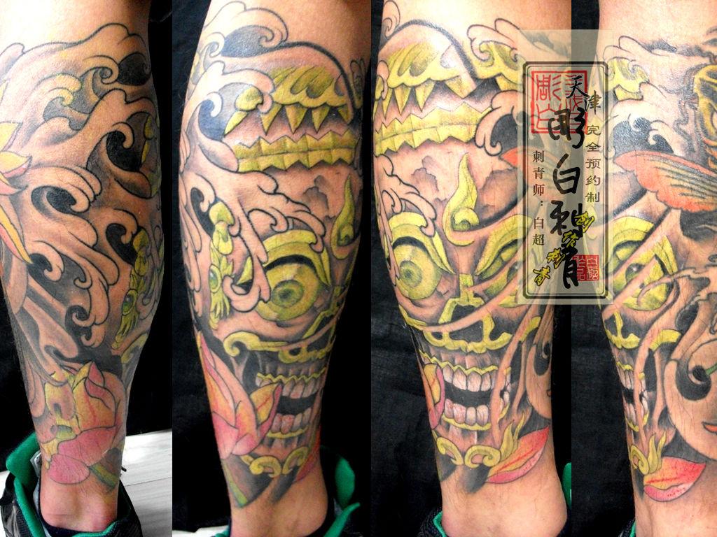 腿部嘎巴拉纹身图案图片