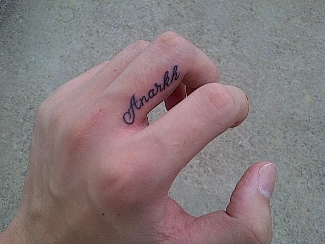 手指个性英文字母戒指纹身图片