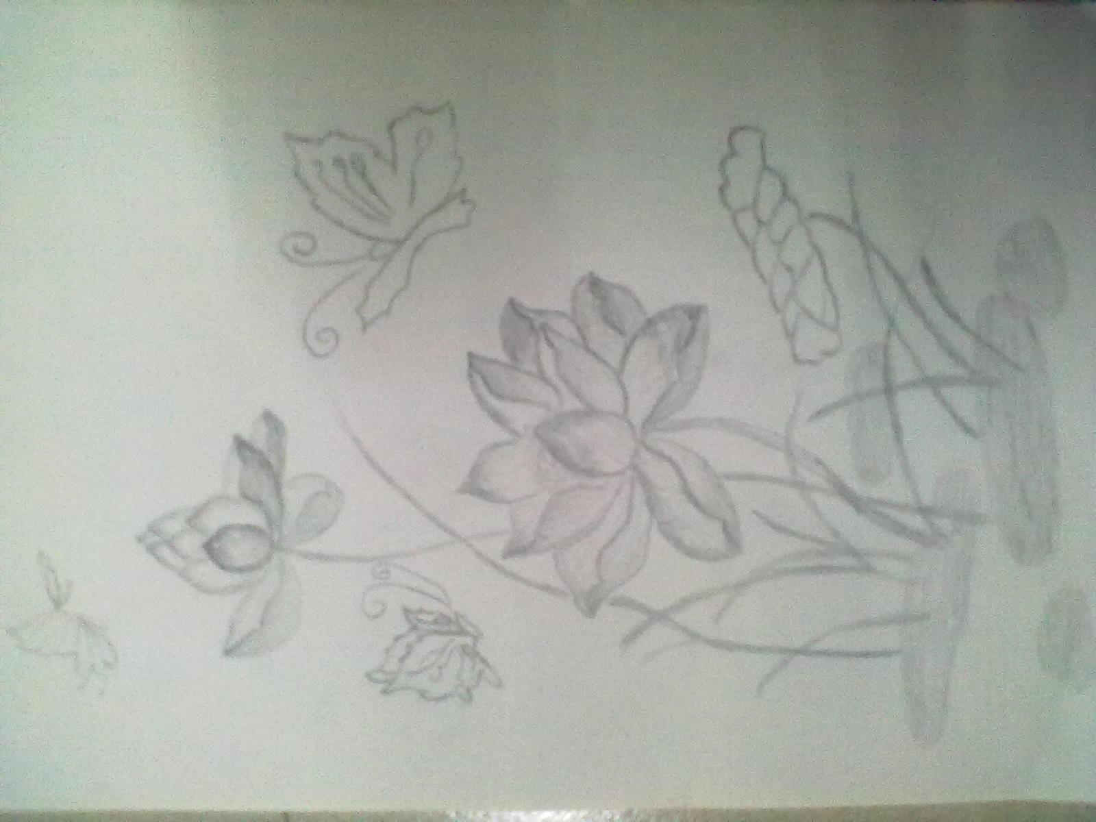 手绘荷花图片铅笔画图片