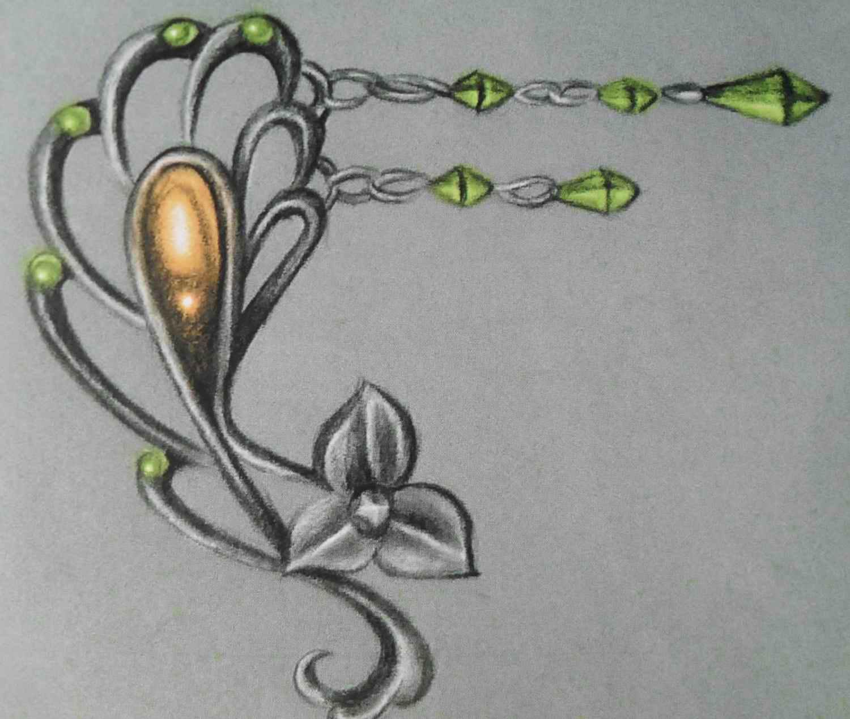 漂亮好看的十字架花藤纹身手稿图片