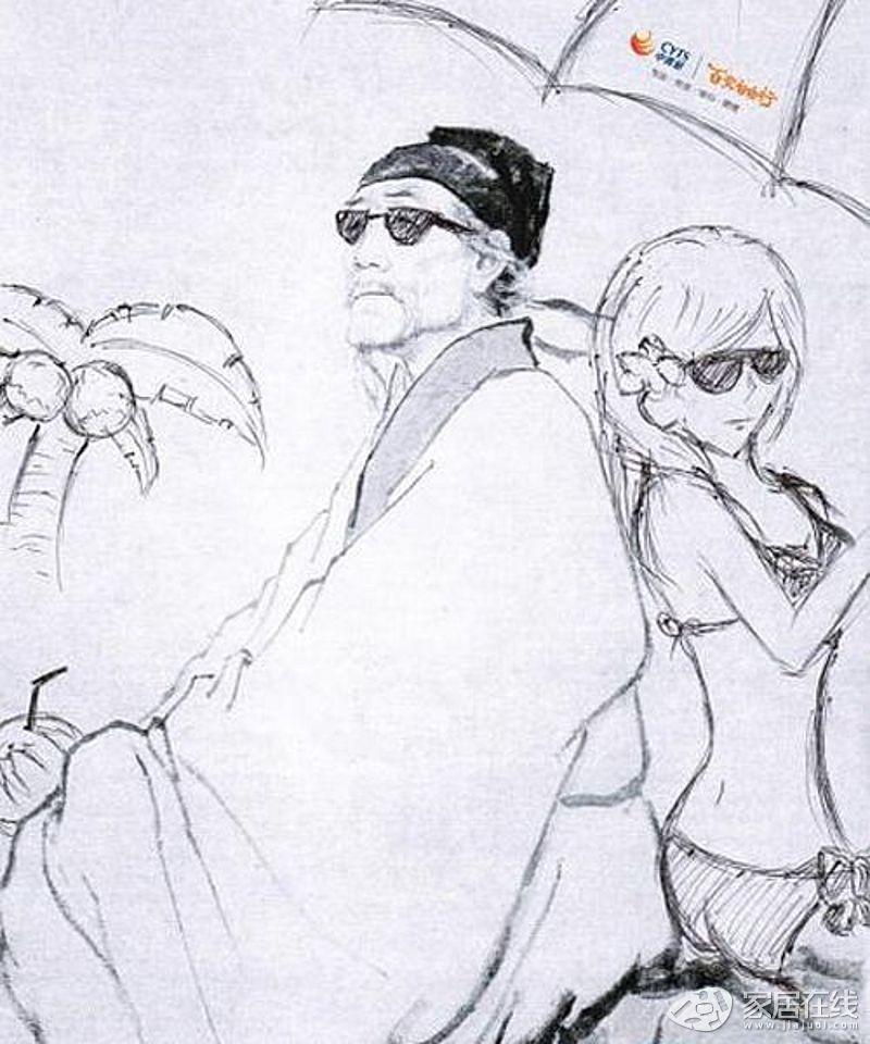 李白和杜甫的头像简笔画