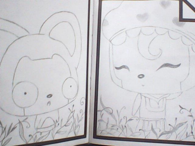 阿 狸 和 桃子 铅笔 画 阿 狸 桃子 素描