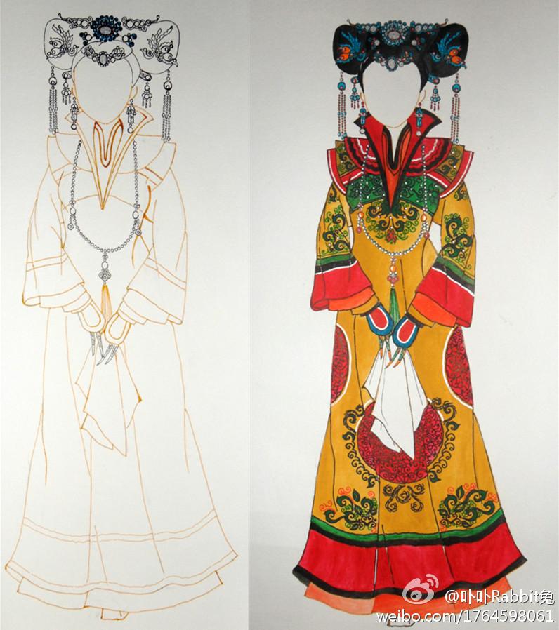 清朝皇后手绘图片_我的手绘设计清代后宫 皇后 妃嫔服饰图样