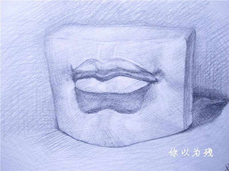 石膏体素描 石膏嘴巴素描 石膏耳朵素描图片 石膏 素描图片