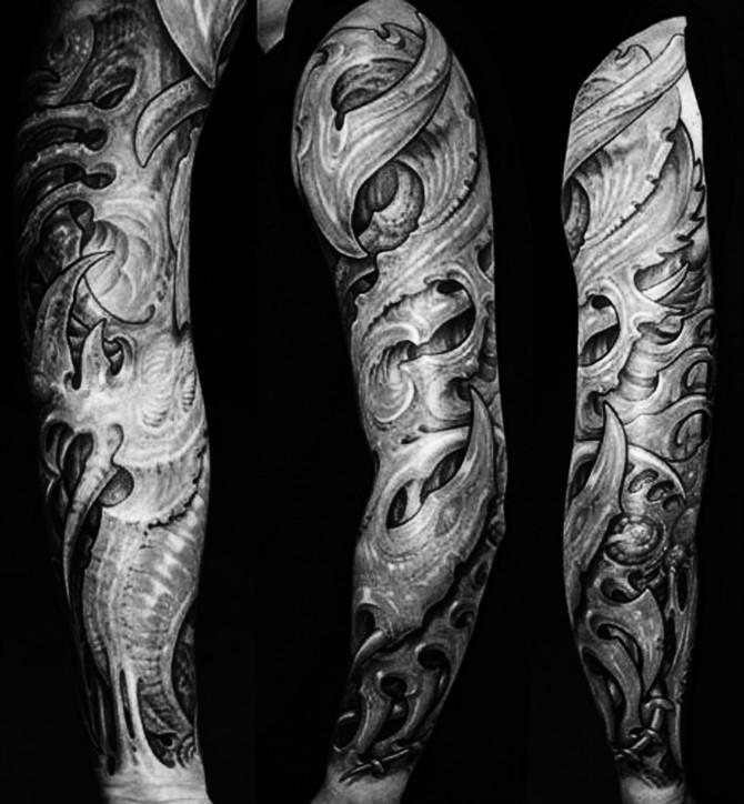 黑灰花臂纹身图片展示图片