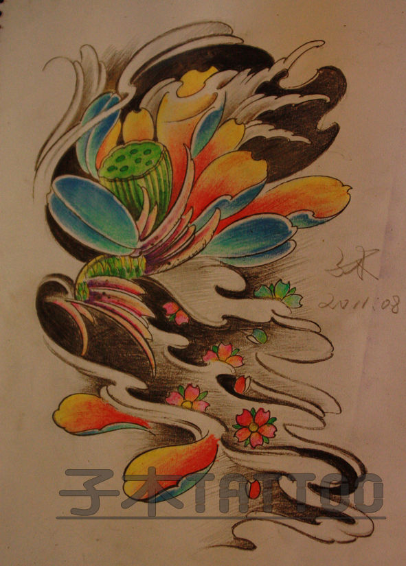 荷花纹身手稿素材勾线分享展示图片