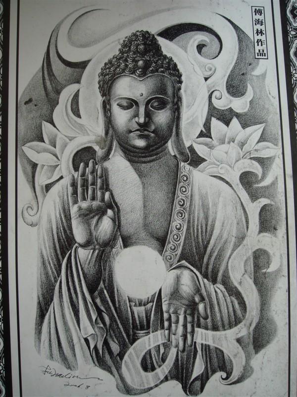 阿弥陀佛纹身图手稿分享展示图片