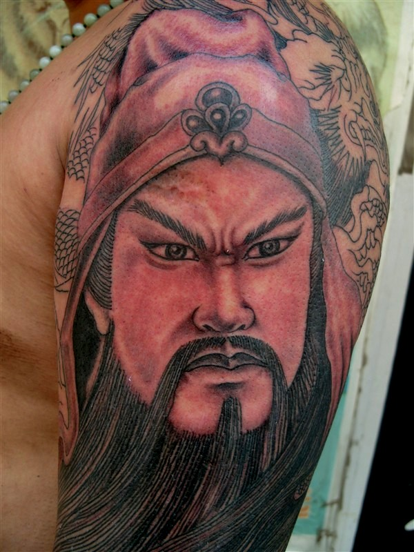 关羽纹身图案手臂分享展示图片