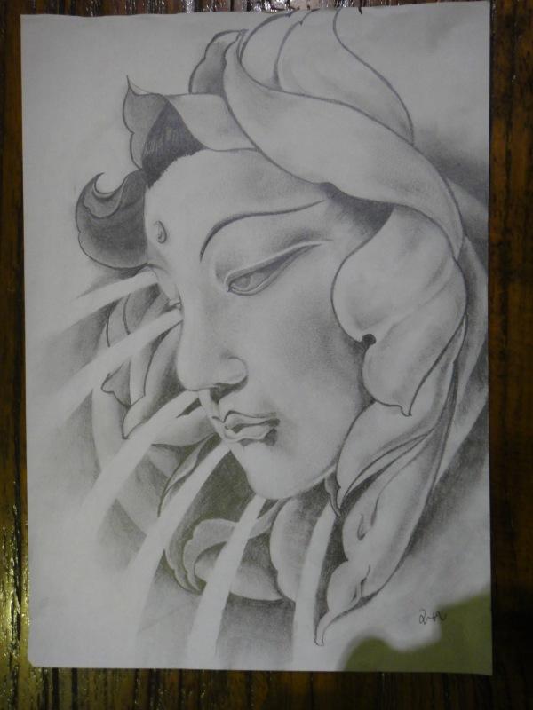 如佛头纹身手稿分享展示图片