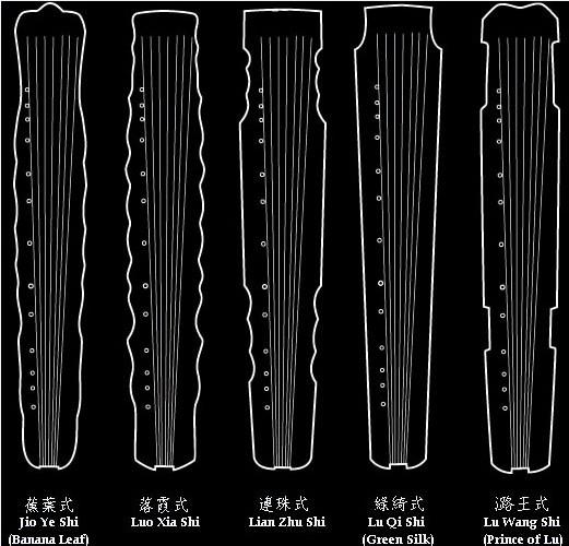 现在古琴一般有十四个左右的普通琴式:仲尼式图片