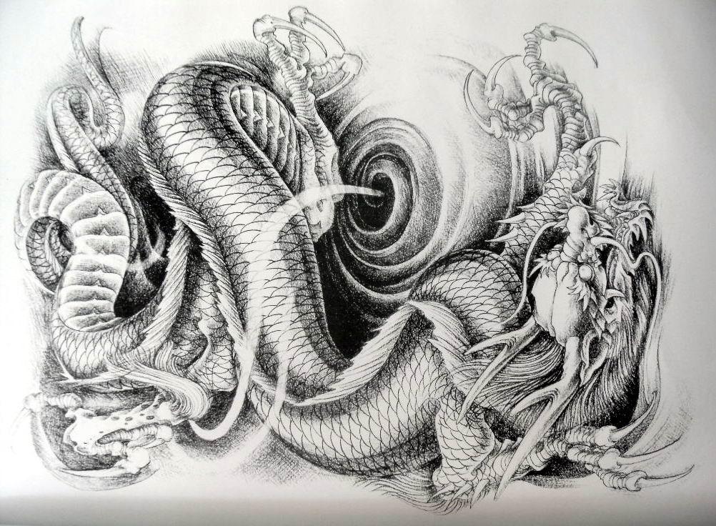 九个龙头纹身手稿分享展示图片