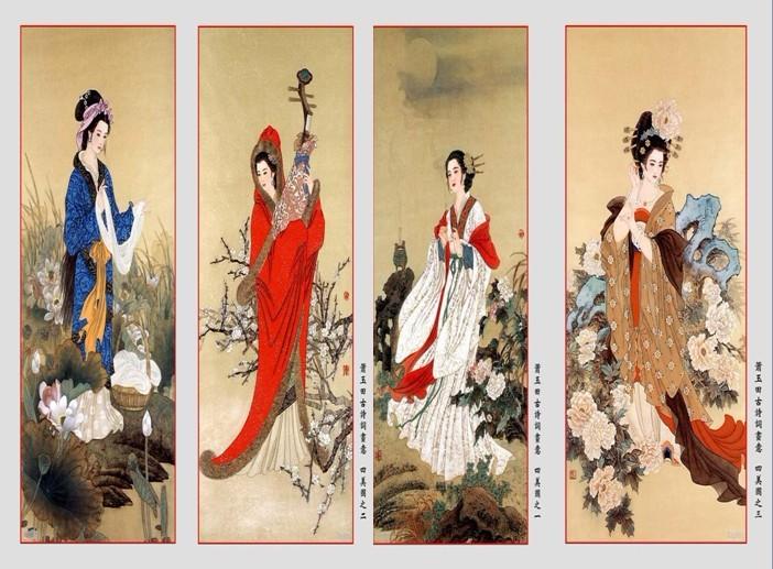 给古代四大美女拟的对联等
