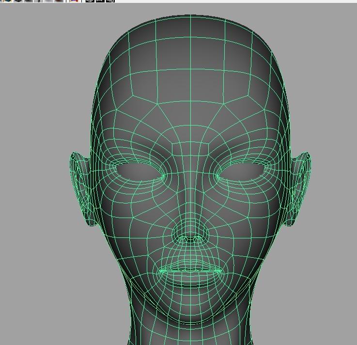 maya人头头发建模三视图分享展示图片