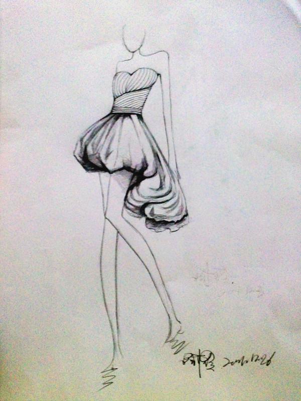 婚纱设计手稿素描图图片