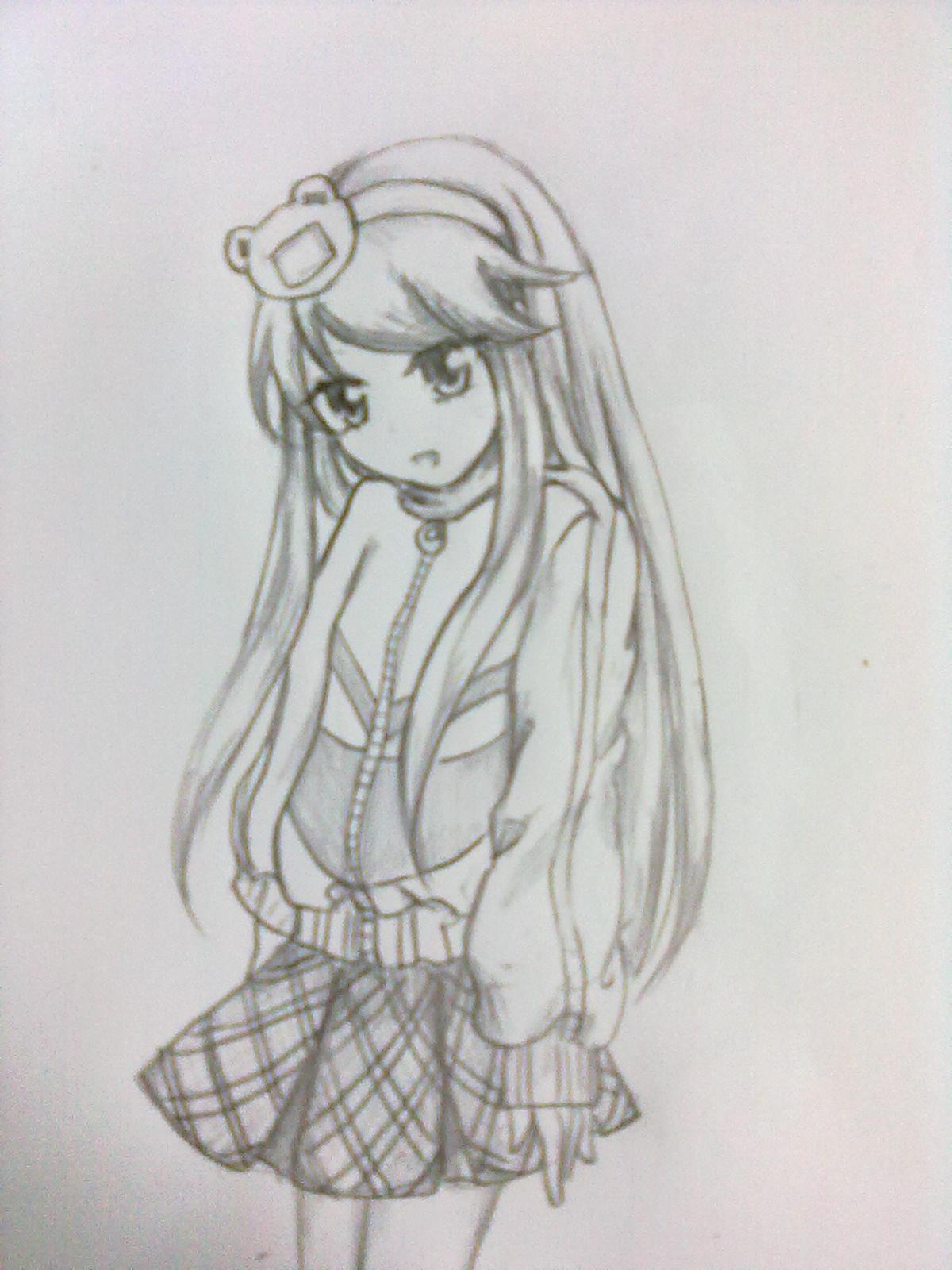 长发漫画萌少女铅笔画图片