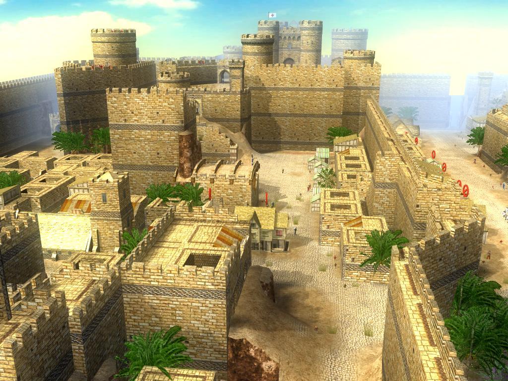 城区里集中着修道院和法院等上层机构,尽头就是大卫塔城堡.高清图片