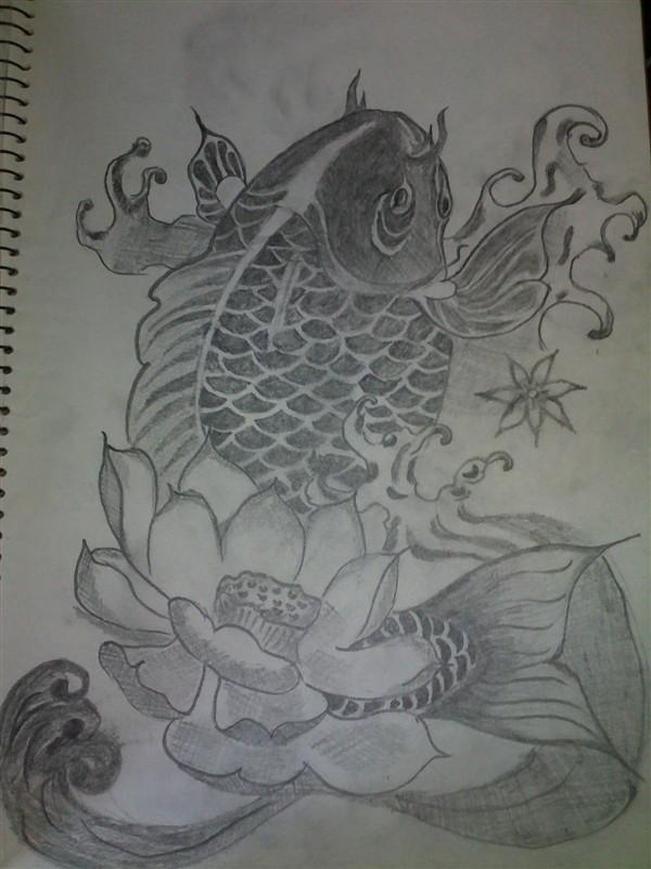 线条感的中国鲤鱼纹身手稿第2页图片
