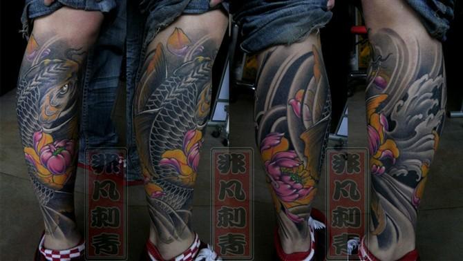 腿纹鱼多图_小腿纹身组图图片