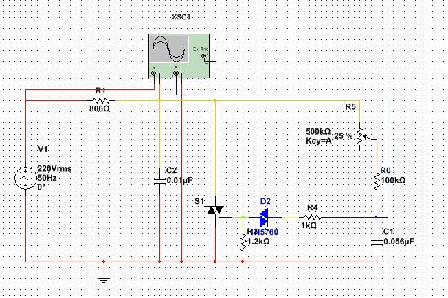 基于multisim的双向晶闸管调光电路,为啥只有半周期导图片