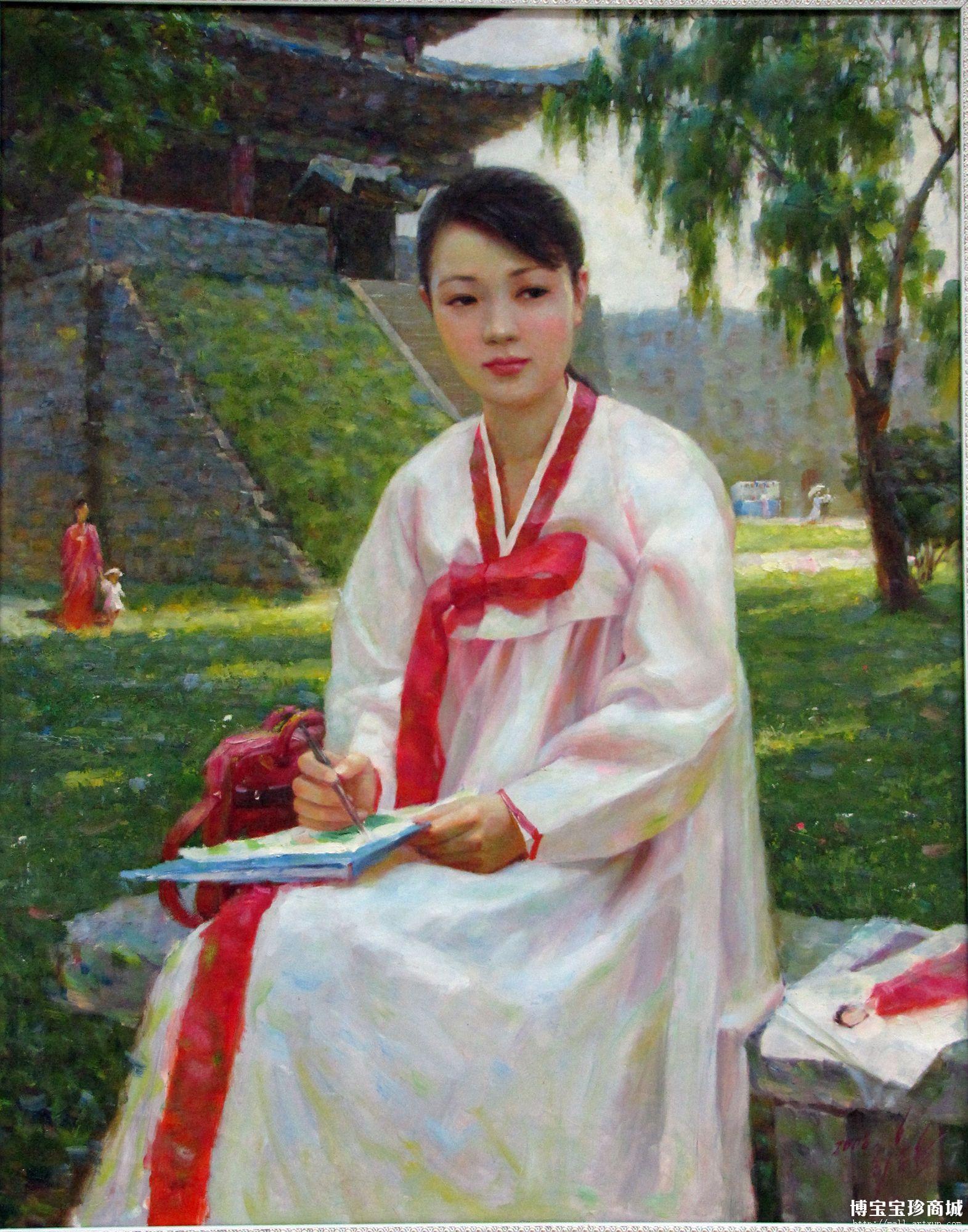 油画中的北朝鲜妹纸