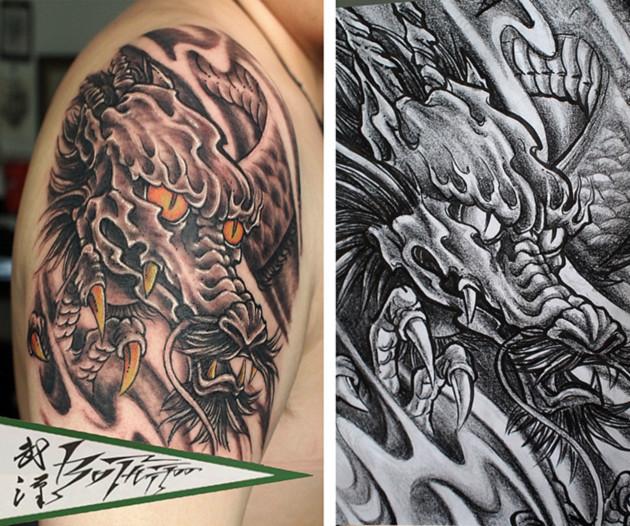 半甲纹身 欧美半臂纹身手稿图片