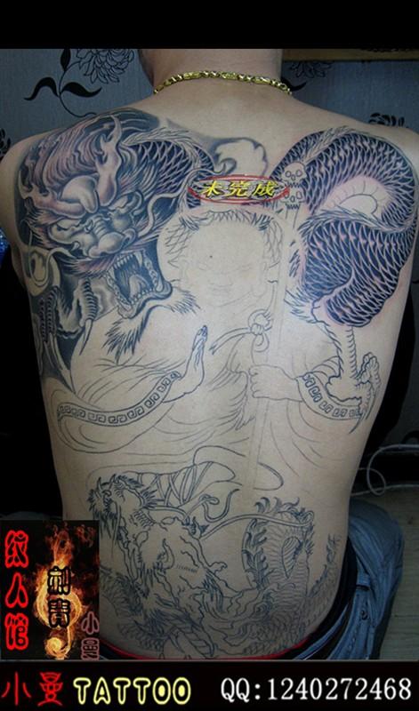 花腿纹身唐狮手稿图分享展示图片