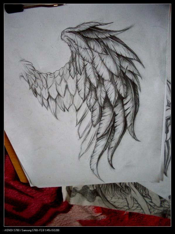 好看的翅膀纹身手稿分享展示图片
