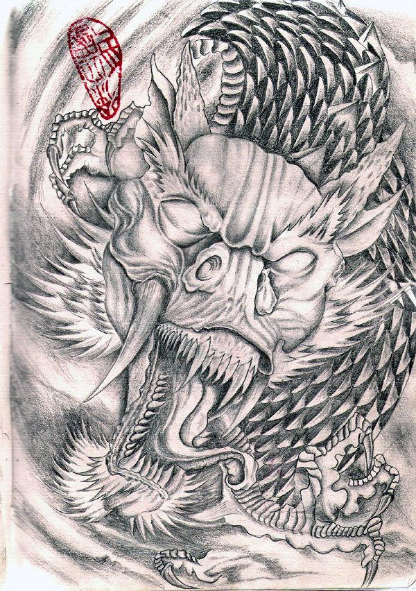 满背降龙罗汉纹身手稿图片