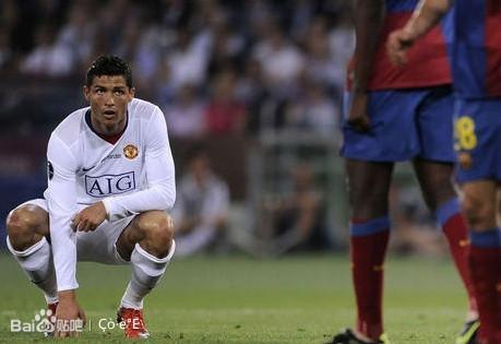 2009年5月27日,曼联在欧冠决赛中0比2不敌巴萨,这也是c罗为曼联踢的图片