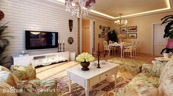 装饰-长房南屏锦源140平米|田园风格|客厅背景墙装修效果图项高清图片