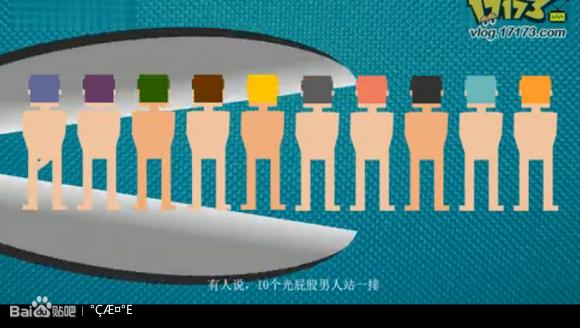 10个光屁股男人站一排