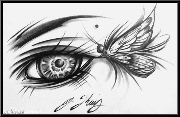 蝴蝶眼睛纹身图片