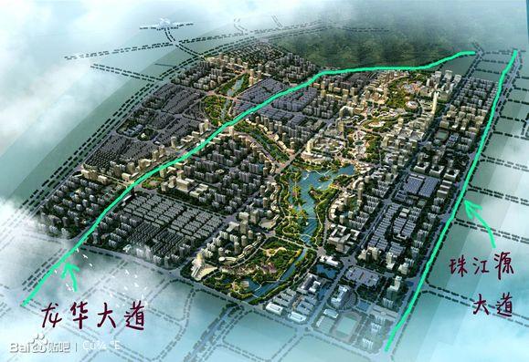 第2张图我标出了龙华大道和珠江源大道的位置,右上 ...
