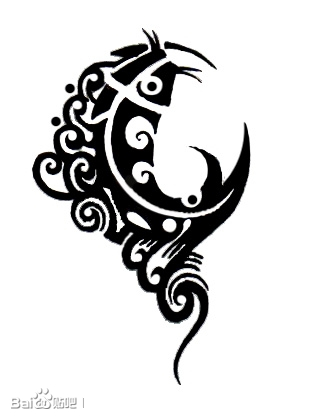月亮图案_南充纹身吧图片
