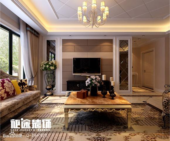 电视背景墙采用统一的咖啡色硬包与浅色的硬包相结合,体现出高清图片