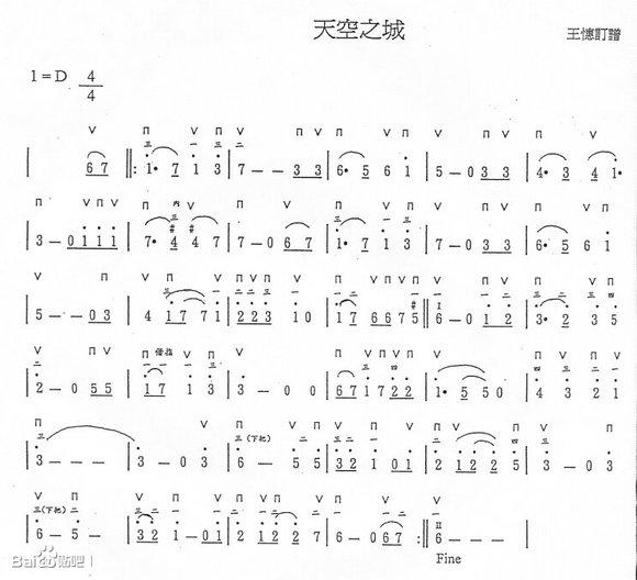 有没有埙版《天空之城》的带指法的乐谱图片
