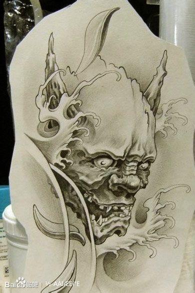 般若鬼王纹身手稿图片