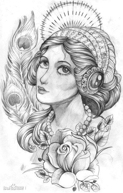 欧美小清新纹身手稿图片