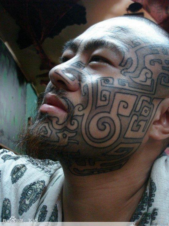 中国纹身脸第一人--饕餮纹