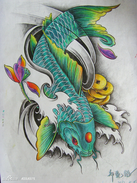 鱼纹身手稿_莆田纹身吧_百度贴吧
