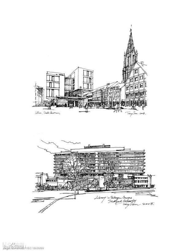 建筑钢笔画速写100例图片
