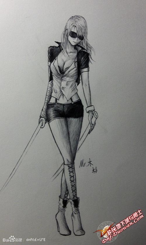 女鬼剑素描手绘图分享 dnf剑宗吧