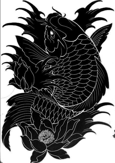 大神帮忙ps图 ,把这鲤鱼和莲花线条弄圆滑清晰,黑底白色图片