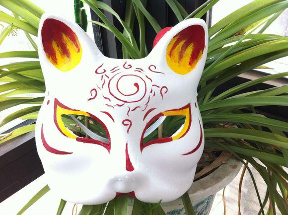 手绘和风狐狸面具 cos买卖吧图片