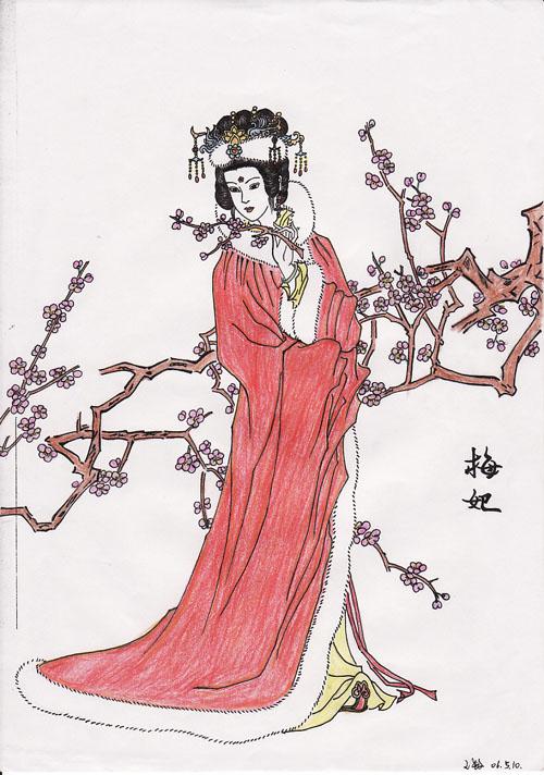 *【自画】彩铅画手绘之古装美女图