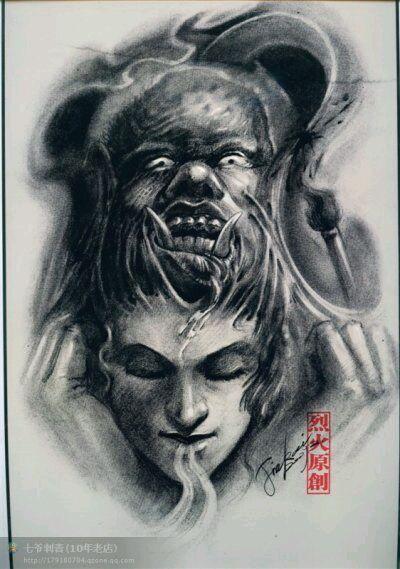 款个性佛牛魔王纹身手稿图案