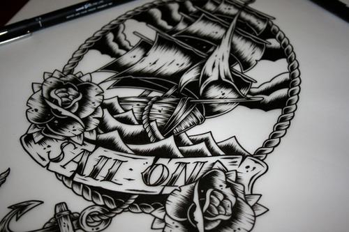 手绘一个线描船舵图片
